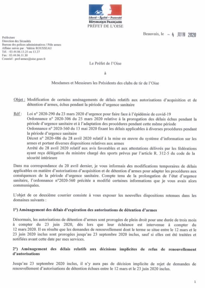 Information n°2 sur les aménagements de délais en matière d'acquisition et de détention d'armes