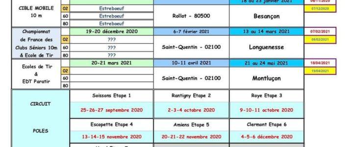 Calendrier hiver saison 2020-2021