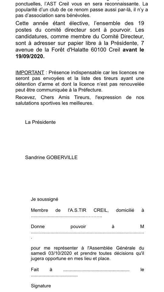Convocation Assemblée Générale 03 oct 2020