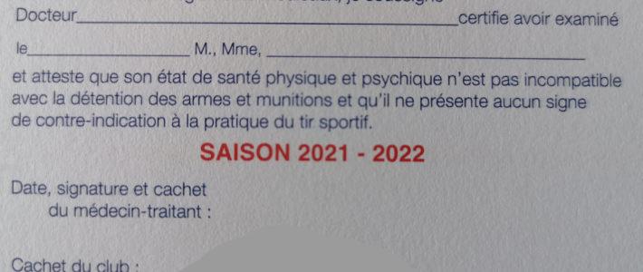"""Information utile concernant le """"tampon"""" du médecin au dos de la licence 2021/2022"""